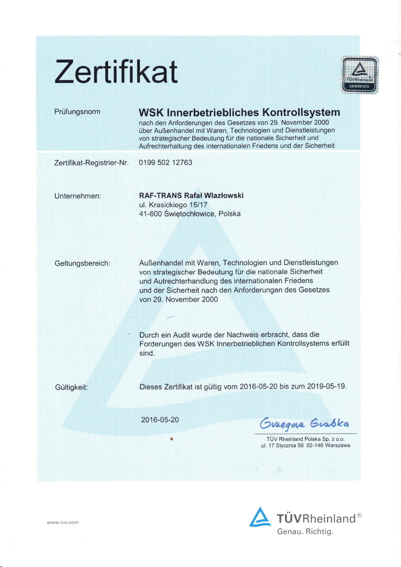 Certyfikat TUV WSK DE