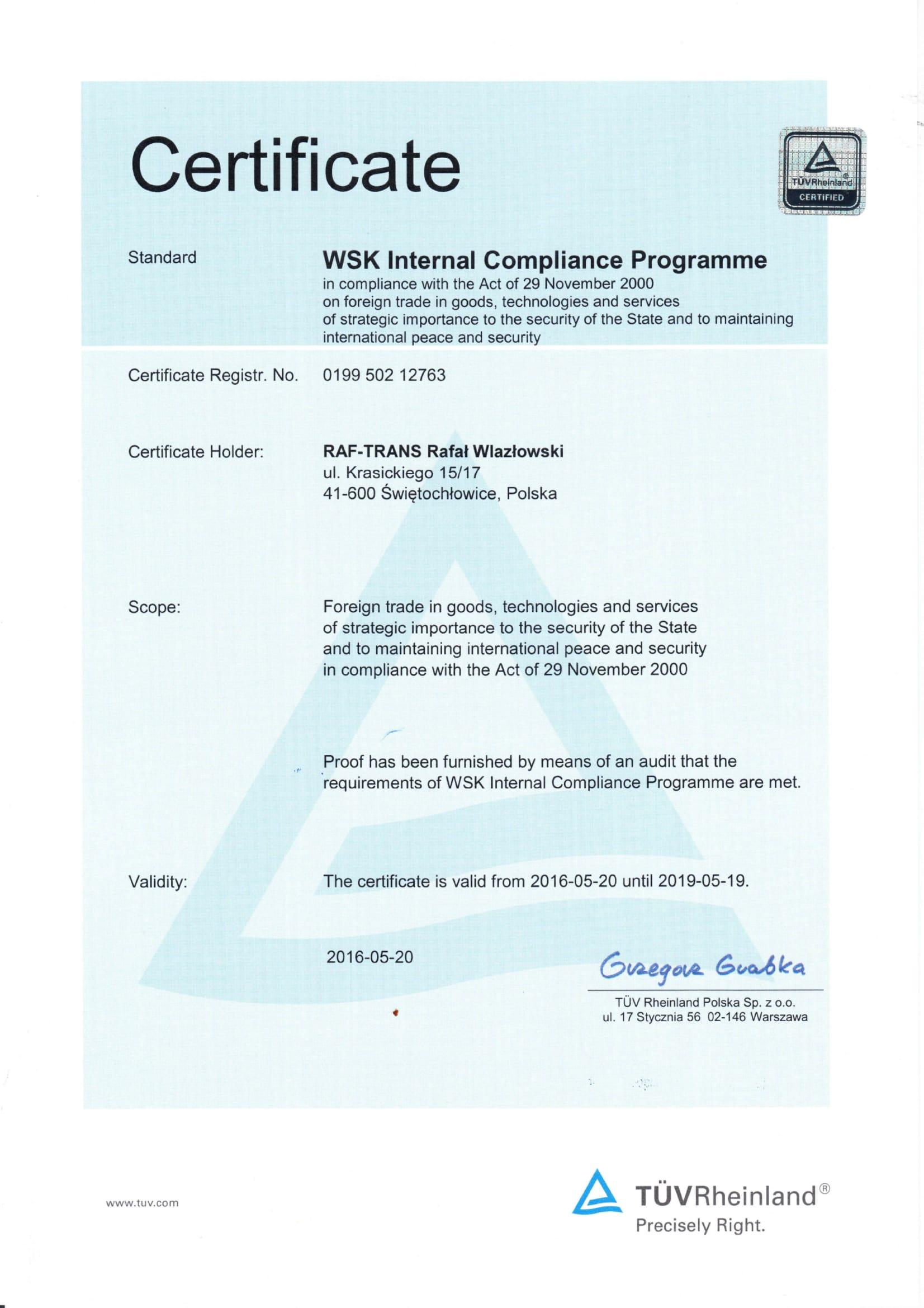 Certyfikat TUV WSK ENG
