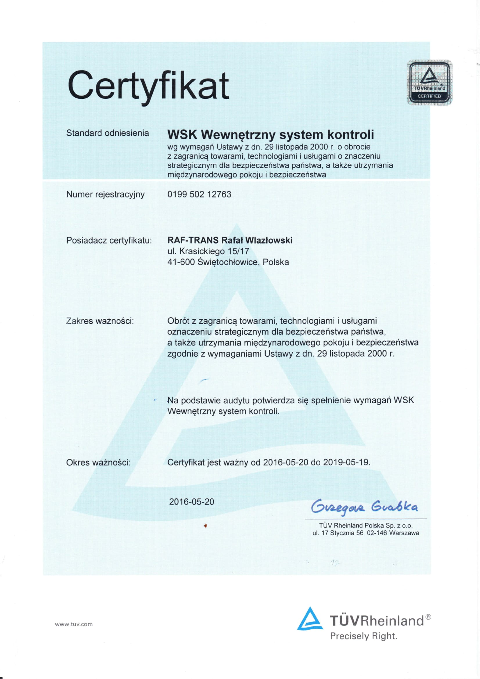 Certyfikat TUV WSK