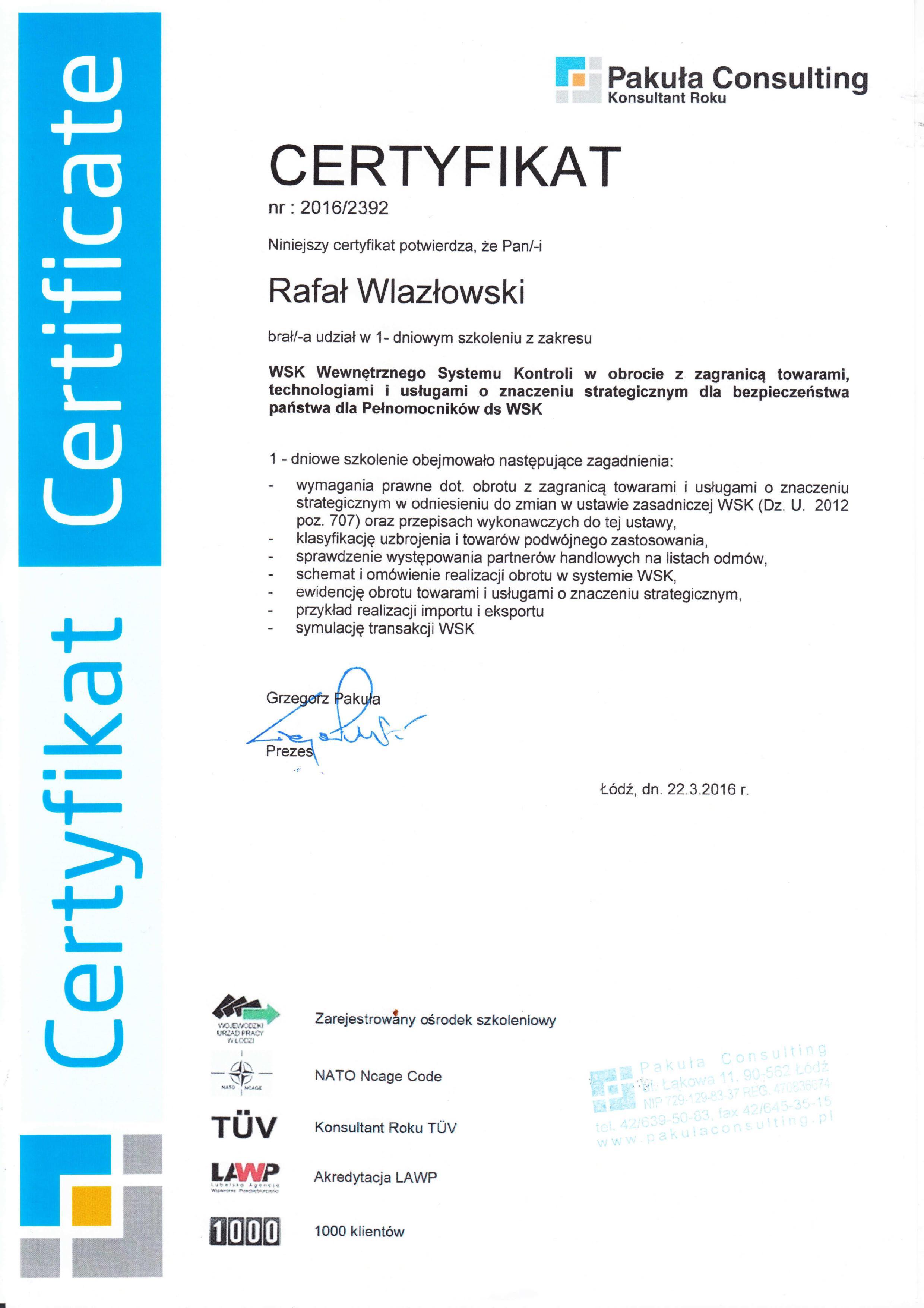 Certyfikat Pakuła Consulting