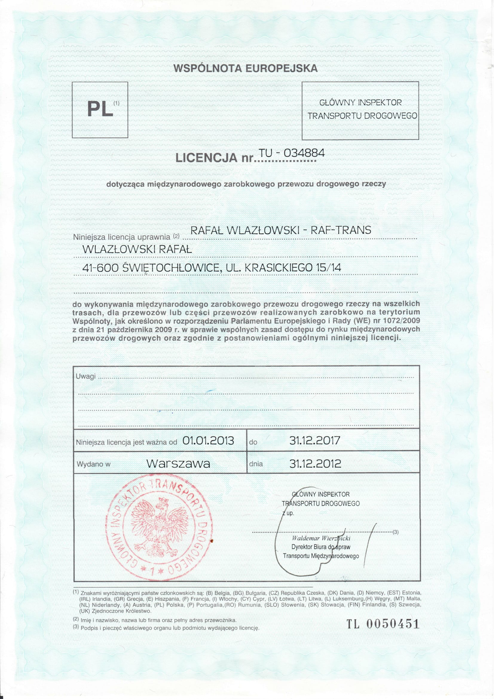Licencja TRANSPORT WLAZŁOWSKI